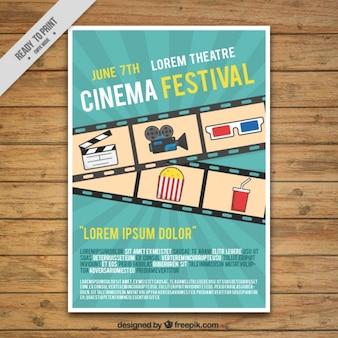 Cartel de festival de cine con fotograma y elementos