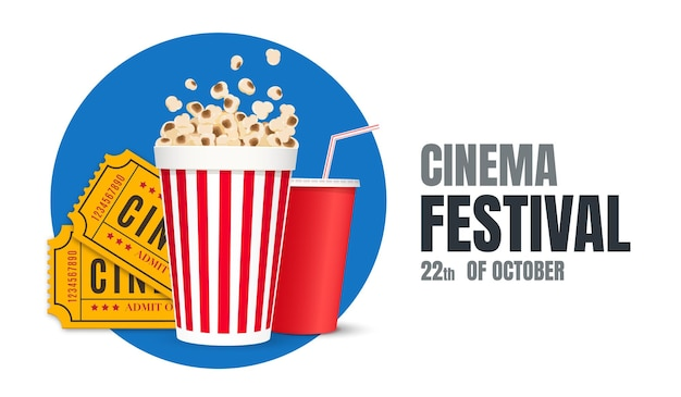 Cartel del festival de cine o ilustración de vector de cartel de película de fondo