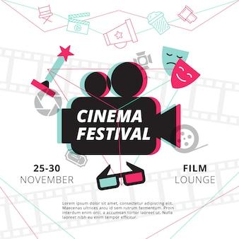 Cartel del festival de cine con silueta de videocámara en el centro y atributos de la industria del cine