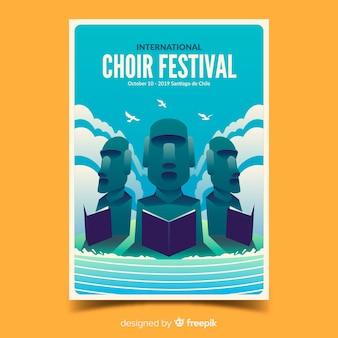 Cartel del festival del coro con ilustración de degradado