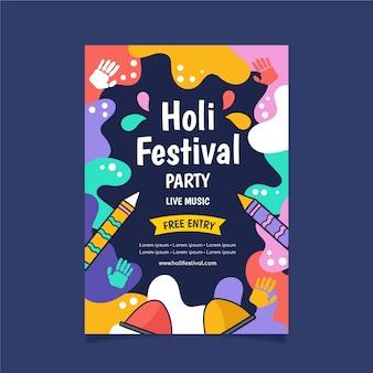 Cartel del festival dibujado a mano con diseño colorido