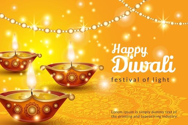 Cartel del festival de diwali. fondo brillante de vacaciones de diwali con lámparas diya