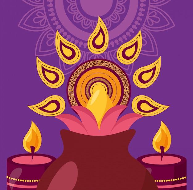 Cartel del festival feliz diwali plano
