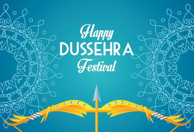 Cartel del festival feliz dussehra con arco y mandalas en fondo azul