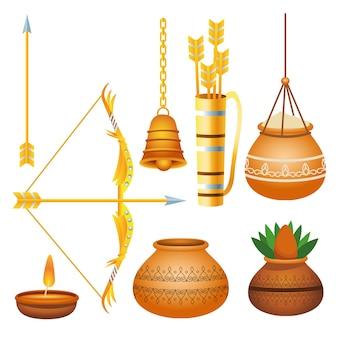 Cartel del festival feliz dussehra con iconos de paquete