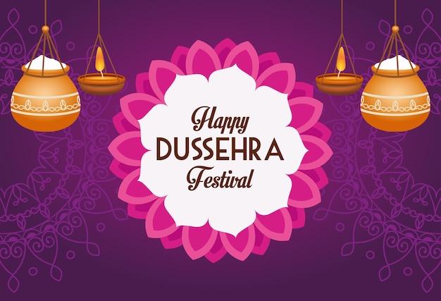 Cartel del festival feliz dussehra con macetas de cerámica colgando y decoración de encaje