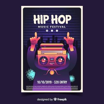 Cartel del festival de hip hop con ilustración de degradado