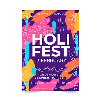 Cartel del festival holi dibujado a mano