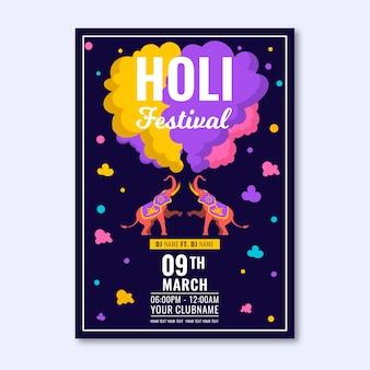 Cartel de festival holi de diseño plano