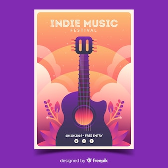 Cartel del festival indie con ilustración de degradado