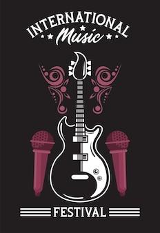 Cartel del festival internacional de música con guitarra eléctrica y micrófonos en fondo negro