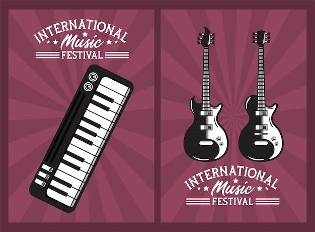 Cartel del festival internacional de música con guitarras eléctricas y piano.