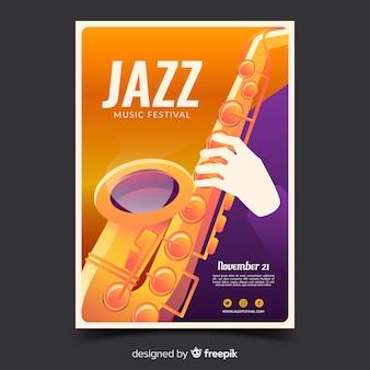 Cartel del festival de jazz con ilustración de degradado
