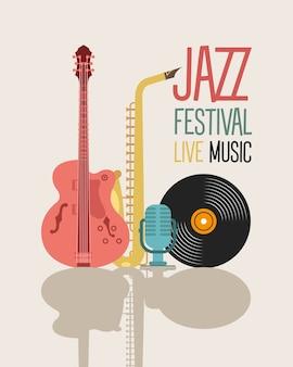 Cartel del festival de jazz con instrumentos y letras, diseño de ilustraciones vectoriales