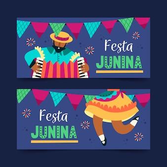 Cartel de festival de junio de estilo plano