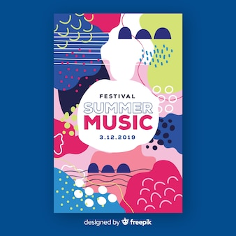 Cartel de festival de música abstracto dibujado a mano