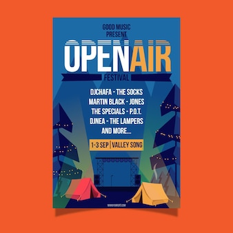 Cartel del festival de música al aire libre y camping.