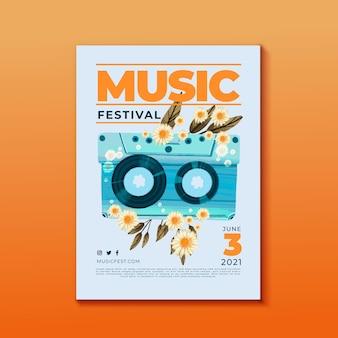 Cartel del festival de música cinta de cassette y flores