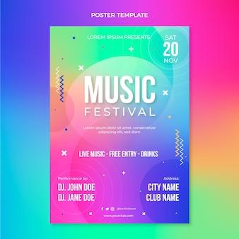Cartel de festival de música colorido degradado