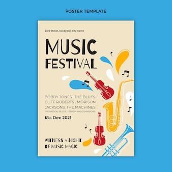 Cartel de festival de música colorido dibujado a mano