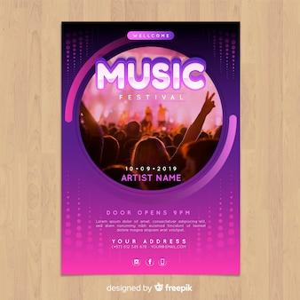 Cartel de festival de música colorido y gradiente con imagen