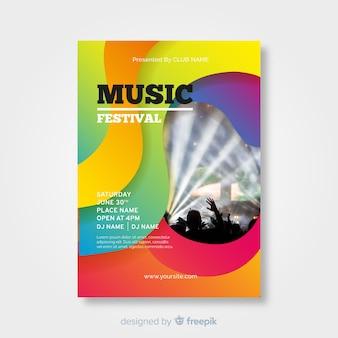 Cartel de festival de música colorido y gradiente