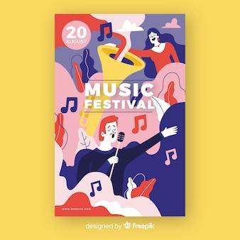Cartel del festival de música dibujado a mano con cantante