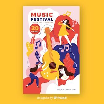 Cartel del festival de música dibujado a mano con guitarra