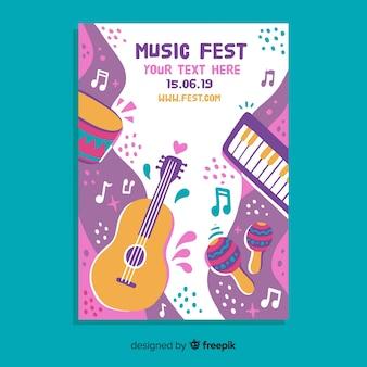 Cartel de festival de música dibujado a mano