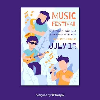 Cartel del festival de música dibujado a mano