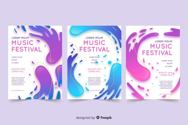 Cartel de un festival de música con efecto líquido.