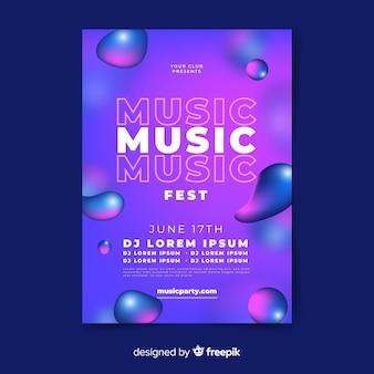 Cartel de festival de música con efecto liquido