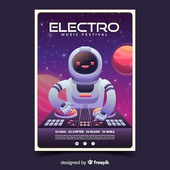 Cartel del festival de música electro con ilustración degradado