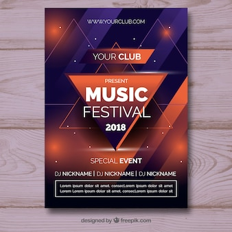 Cartel de festival de música en estilo abstracto