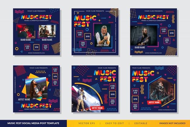 Cartel del festival de música en estilo memphis
