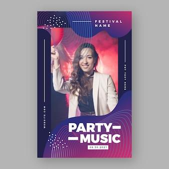 Cartel del festival de música de fiesta con mujer