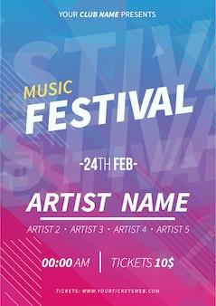 Cartel del festival de música con fondo de memphis.