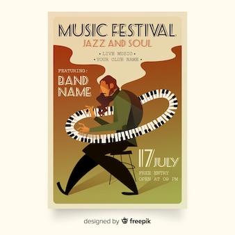 Cartel de festival de música de ilustración degradado