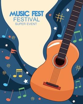 Cartel del festival de música con ilustración de guitarra acústica