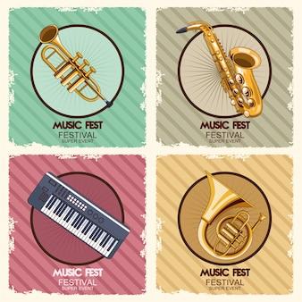 Cartel del festival de música con ilustración de instrumentos