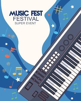 Cartel del festival de música con ilustración de piano