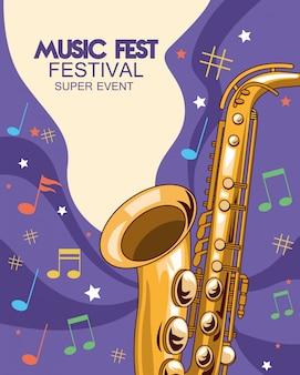 Cartel del festival de música con ilustración de saxofón
