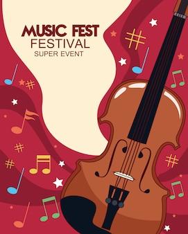 Cartel del festival de música con ilustración de violín