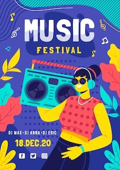 Cartel del festival de música con ilustración
