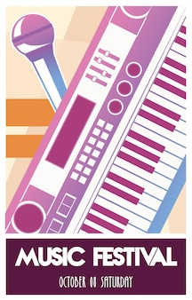 Cartel del festival de música con instrumento de piano y micrófono.