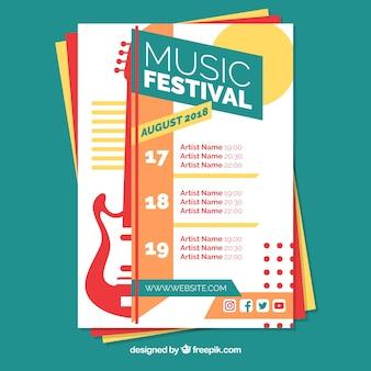 Cartel de festival de música con instrumentos en estilo plano