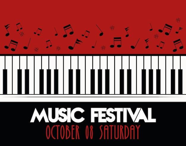 Cartel del festival de música con instrumentos de piano musical y letras.