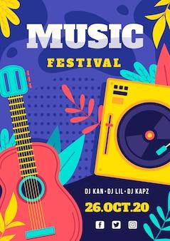 Cartel del festival de música con instrumentos.