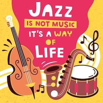 Cartel festival de música de jazz con instrumentos musicales.