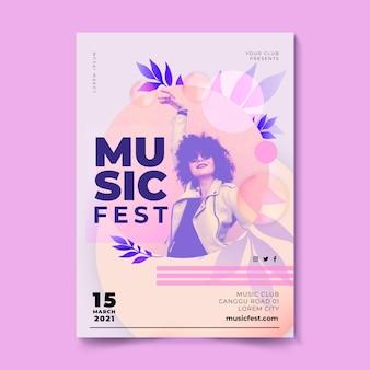 Cartel del festival de música mujer con gafas de sol